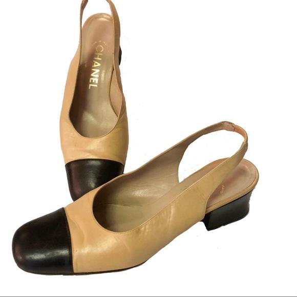 688664f9543 CHANEL Shoes - Vintage Chanel Cap Toe Sling Back Shoes Heels